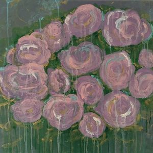 Gallery wrapped abstract rose painting